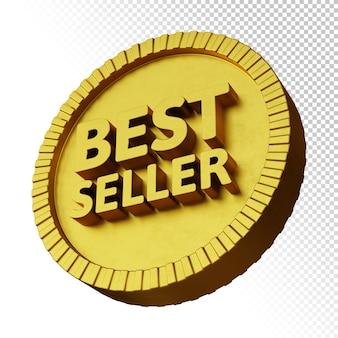 Лучший продавец 3d рендеринг жирных букв с изолированным золотым круглым значком