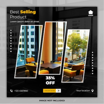 Best selling furniture social media post banner templates