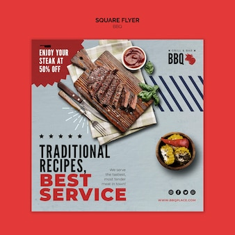 Best service bbq square flyer template