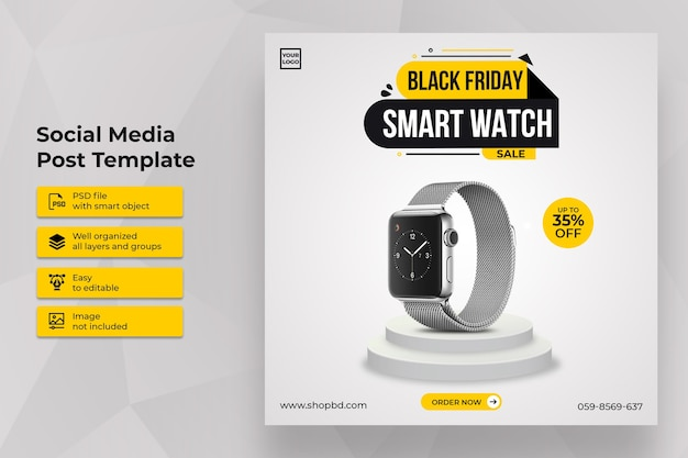 Best smartwatch black friday sale social media post template