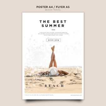 The best summer with girl poster template