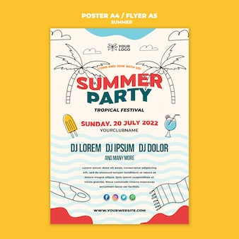 Best summertime party poster template
