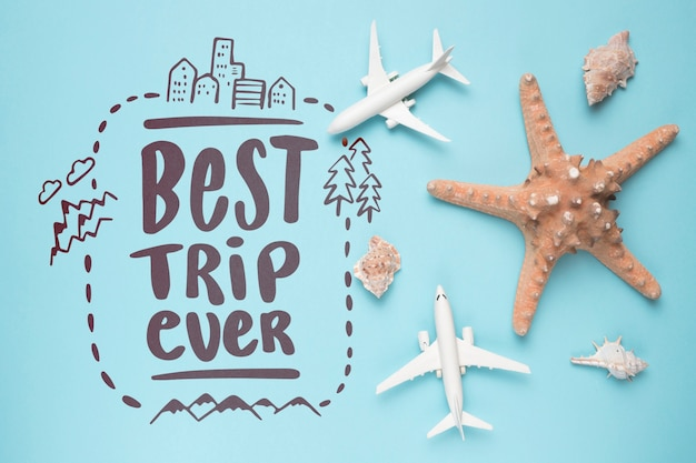 Best trip ever, motivational lettering quote for holidays traveling concept