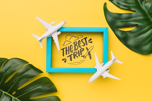 The best trip, lettering with frame, airplanes and palm leaves