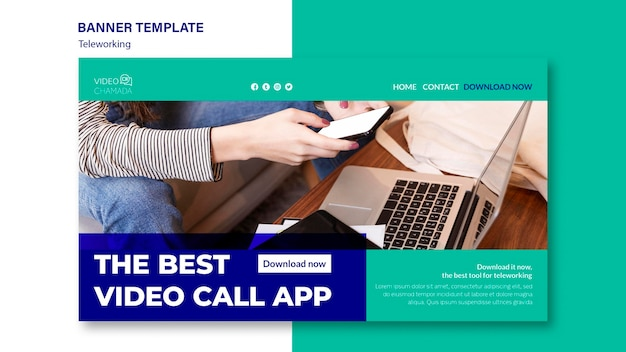 The best video call app banner template