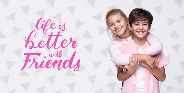 Better with friends boy and girl mock-up