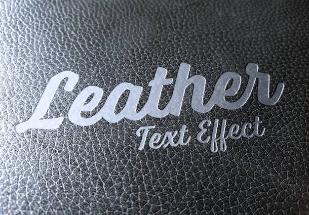 Beveled metal text effect on leather mockup