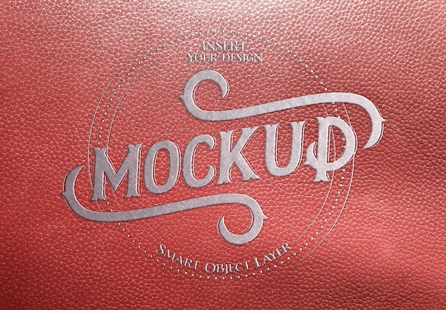 Beveled metal text effect on red leather mockup
