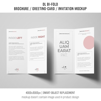 Bi-fold brochure or invitation mockup