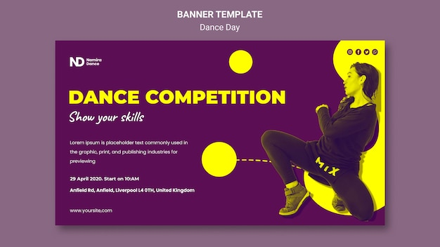 Bicolored dance day banner template