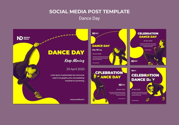 Bicolored dance day instagram stories pack