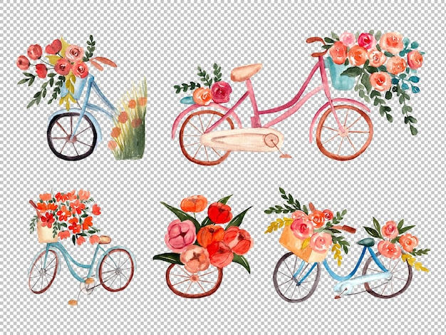 水彩イラストでピンクの花と自転車