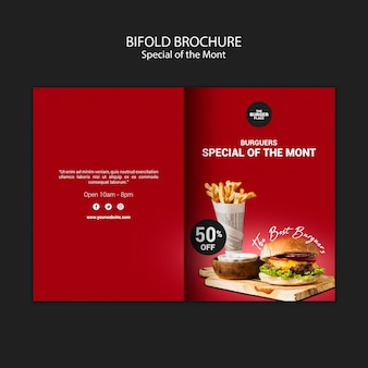 Bifold brochure for burger restaurant