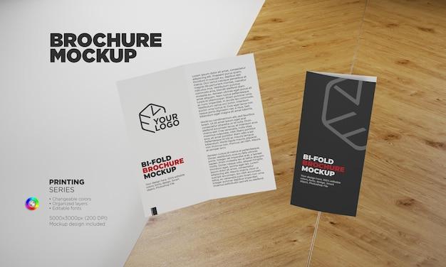 Bifold brochure or invitation mockup