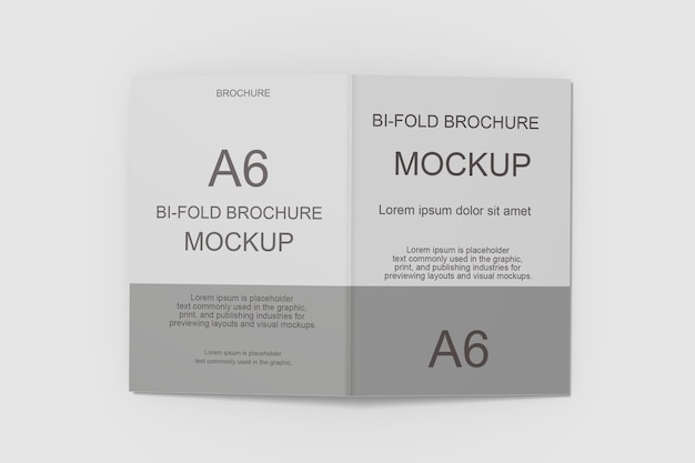 Bifold brochure mockup design in 3d rendering