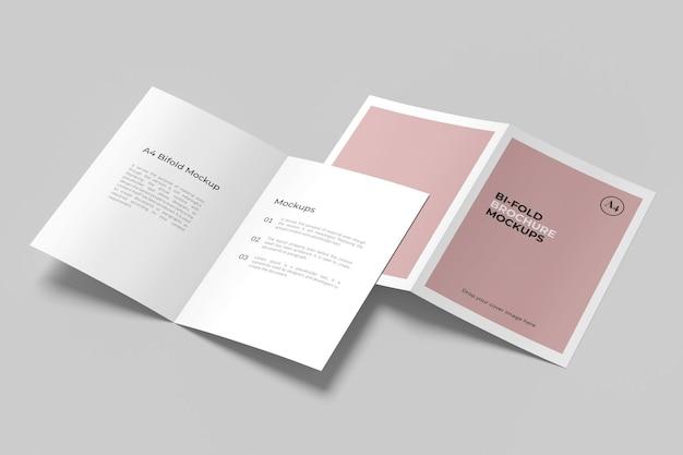 Bifold brochure mockup design isolated
