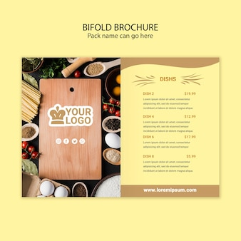 Bifold brochure restaurant food menu