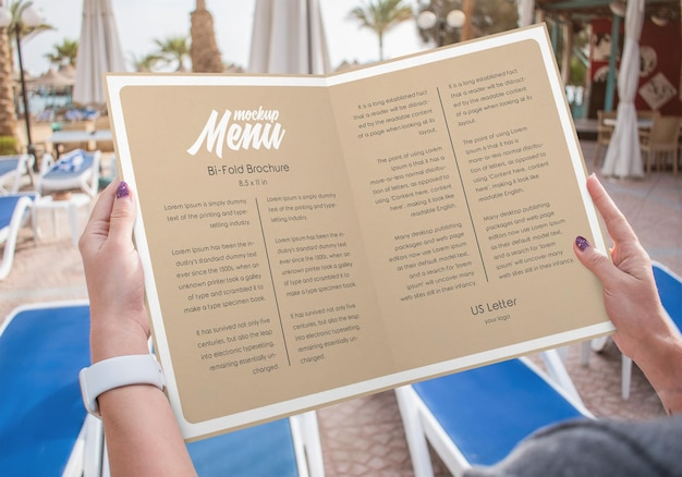 Брошюра bifold мокап меню ресторана