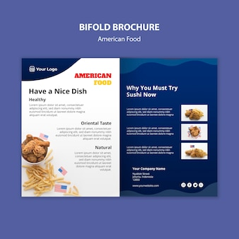 Bifold brochure template for american food restaurant