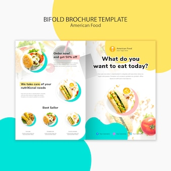 Bifold brochure template american food