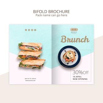 Bifold brochure template for brunch restaurant
