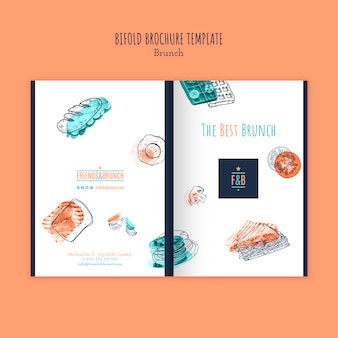 Bifold brochure template for brunch restaurant