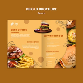 Bifold brochure template for brunch