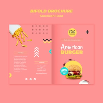 ハンバーガーとアメリカ料理の二つ折りパンフレットのテンプレート