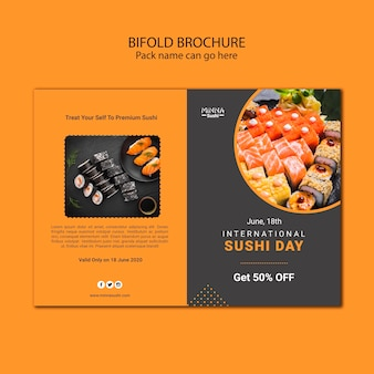 Bifold brochure template for for international sushi day