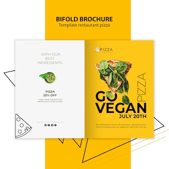 Bifold brochure template for pizza restaurant