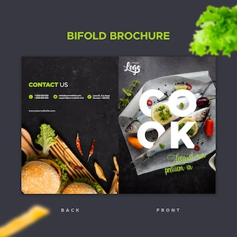 Bifold brochure template for restaurant