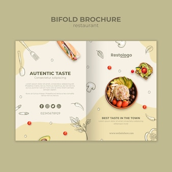 Bifold brochure template for restaurant