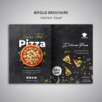Bifold brochure template for traditional italian food restaurant