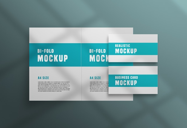 Bifold brochure with a business card psd mockup
