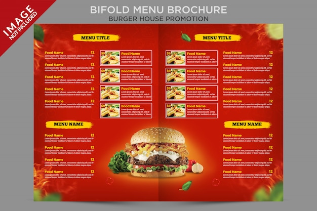 Bifold menu brochure flyer template