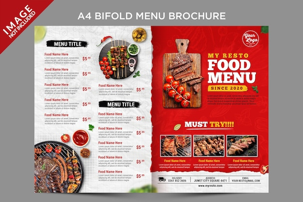 Bifold menu brochure outside template