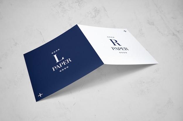 Bifold square brochure mockup