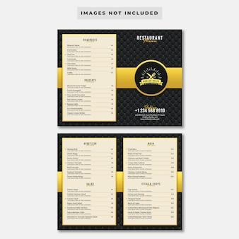 Роскошный ресторан bifold шаблон меню