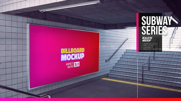 地下鉄の階段の大きな看板のモックアップ