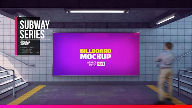 Big billboard mockup in subway entrance