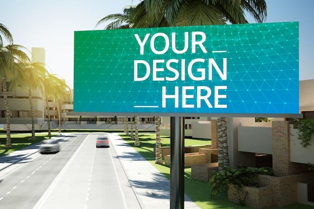 Big billboard on a road mockup