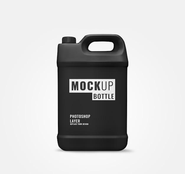 Big black bottle gallon of liquid mockup