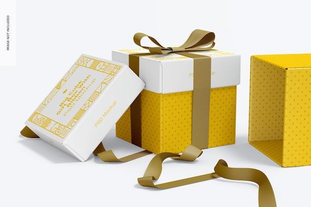 리본 목업, 전면보기와 함께 큰 큐브 선물 상자