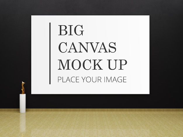 Big frame mockup for art in gallery with golden cat statue