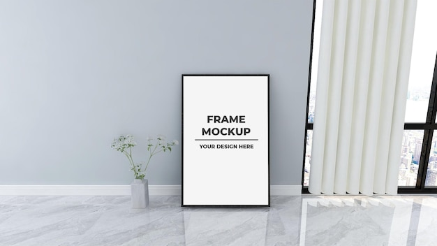 Big frame poster template mockup on floor