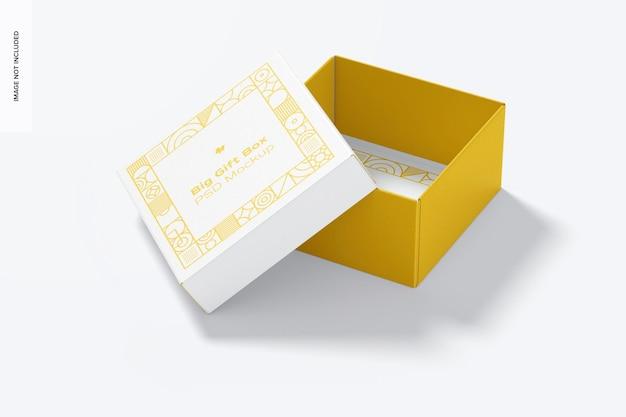 Мокап большой подарочной коробки, открыт