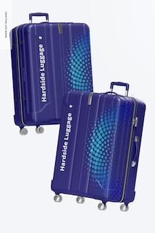 Big hardside luggage mockup, floating