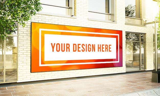 건물 외관 모형에 큰 수평 광고판