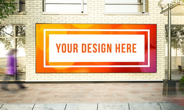 Big horizontal poster on street wall 3d rendering mockup