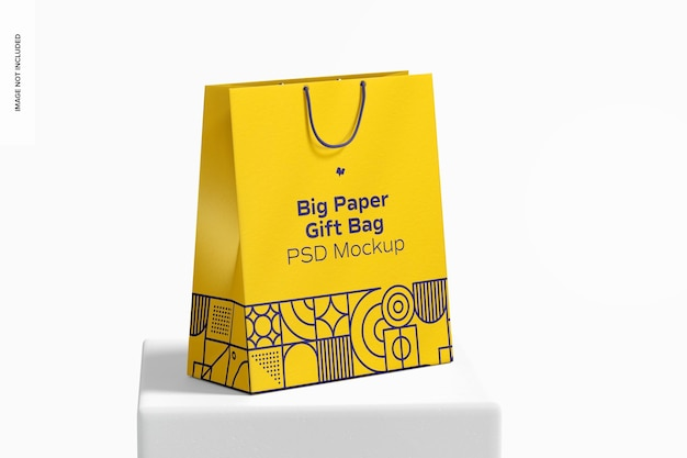 Big paper gift bag with rope handle mockup